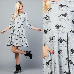 🐶French Bulldogs Print Sweater Dress